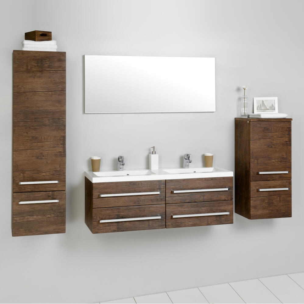 badezimmerm bel badm bel set waschtisch hochschrak antik holz grau meliert mdf ebay. Black Bedroom Furniture Sets. Home Design Ideas