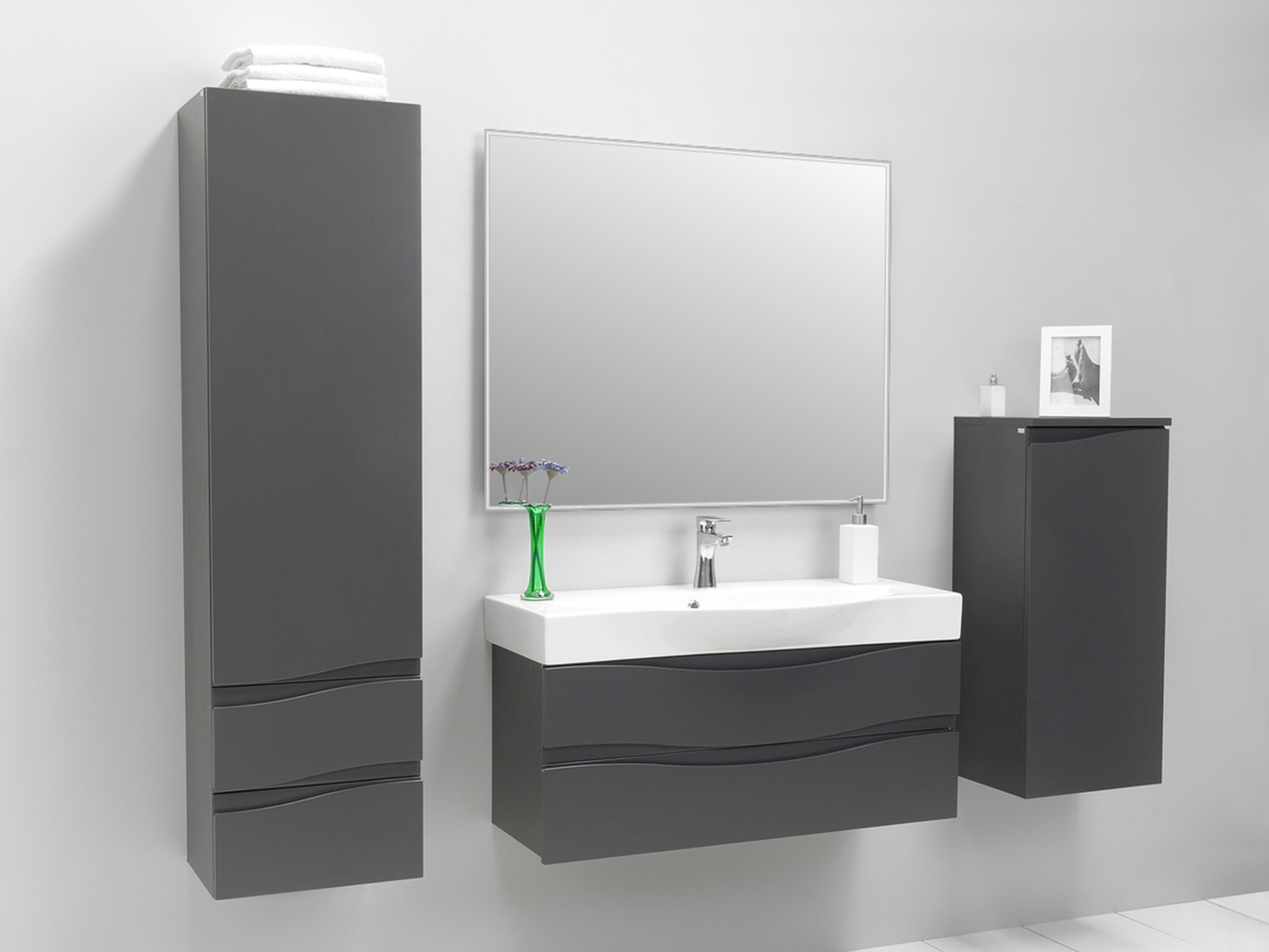 badezimmerm bel badm bel set waschtisch hochschrank schrank wei grau graphit ebay. Black Bedroom Furniture Sets. Home Design Ideas