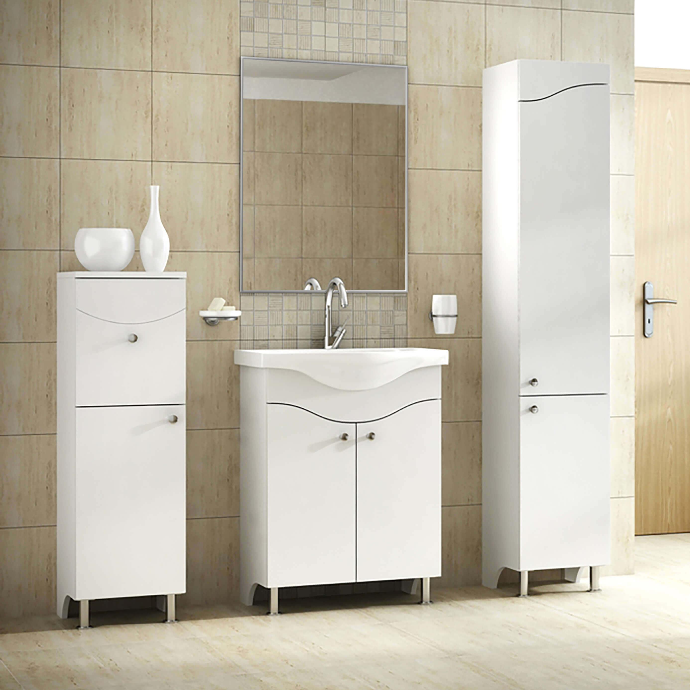 Badezimmermöbel Badmöbel Waschtisch Hochschrank Spiegel Standfüße ...